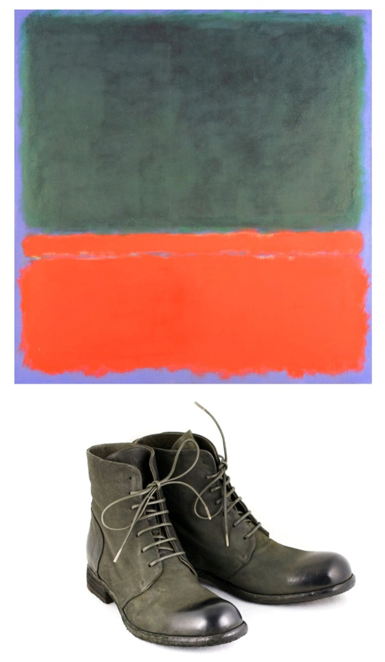 Mark Rothko Untitled (Green, Red, Blue) 1955,  Officine Creative Lace-up boot in rustic green