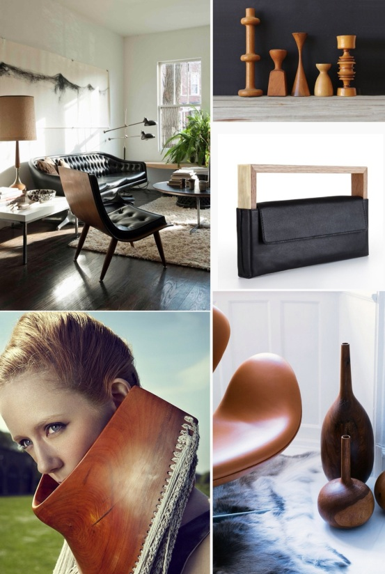 mood board wood + Leather