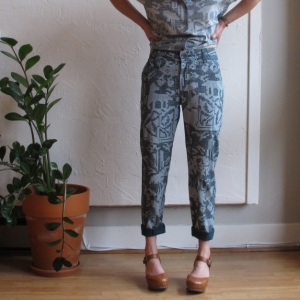 Kepler Trousers by Feral Childe at Velouria Ballard Seattle made in NYC independent design Mars Rover Original print