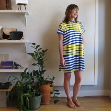 Oversize Tee Dress in Blue Moire Original Print by Dusen Dusen at Velouria Ballard Seattle Made in the USA