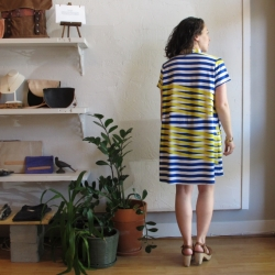 Oversize Tee Dress in Blue Moire Original Print by Dusen Dusen at Velouria Ballard Seattle Made in the USA