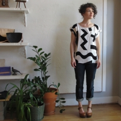 Oversize Tee in Objects Original Print by Dusen Dusen at Velouria Ballard Seattle Made in the USA