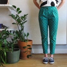Pleated Pants in Trellis Print by Dusen Dusen at Velouria