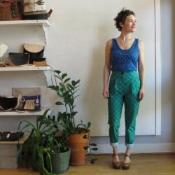 Pleated Pants in Trellis Print by Dusen Dusen at Velouria