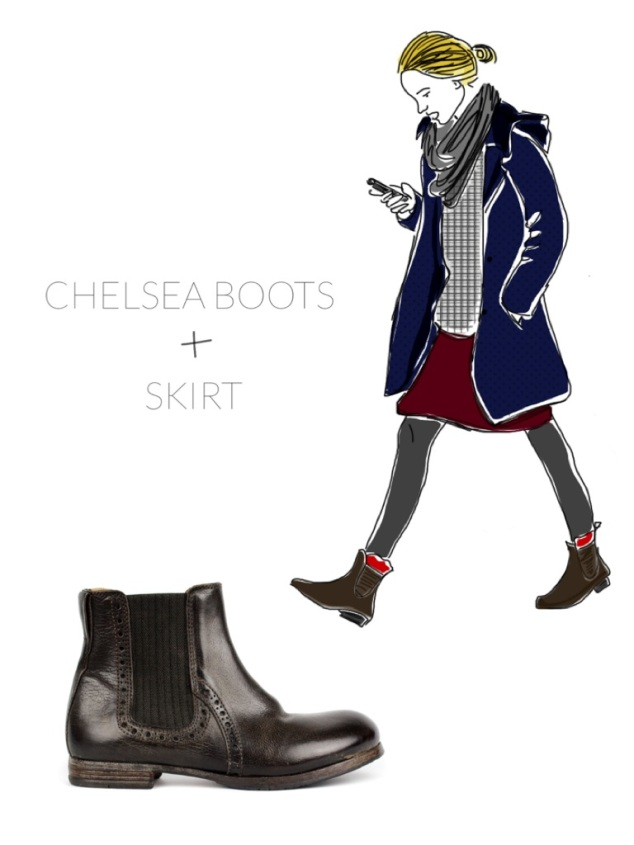 Chelsea Boots with Skirt