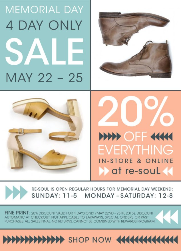 Memorial Day Sale at re-souL : 20% off everything