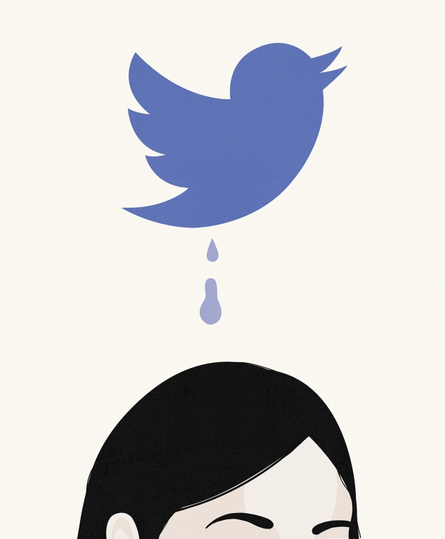 An illustration of getting over a breakup in the age of social media for Real Simple Magazine