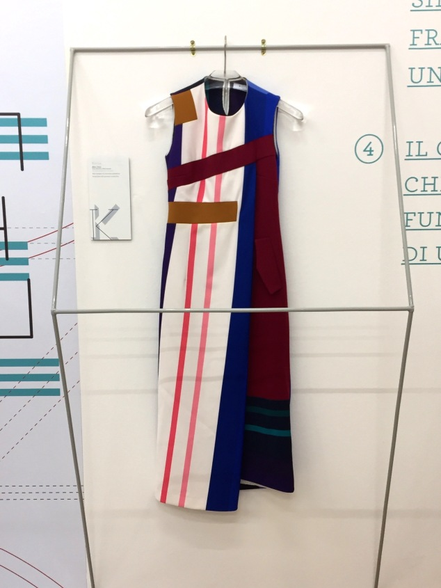 "Color-block dress in the ""Fabrication"" room."
