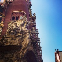 A glimpse of the Catalan architecture of the Palua de la Musica Catalan.