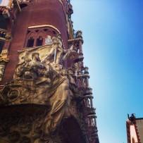 A glimpse of the Catalan architecture of the Palua de la Musica Catalan.