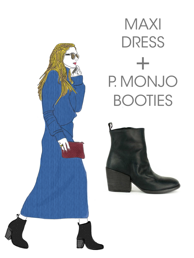 What to Wear Wednesday: P. Monjo Booties + Midi Dress